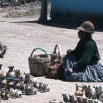 Selling souvenirs.