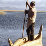 A reed boat made by hand at Lake Titicaca.