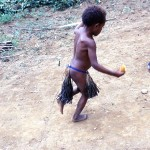 A child practices his dance.