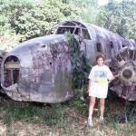 Part of a wrecked plane from World War II.