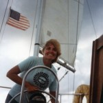 Ann sailing on the British Virgin Islands.