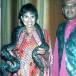 Ann and a boa constrictor in Hong Kong.
