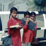 Three school children in Kashmir